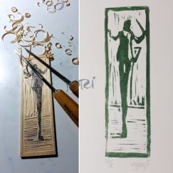 Holzschnitt, Handabreibung