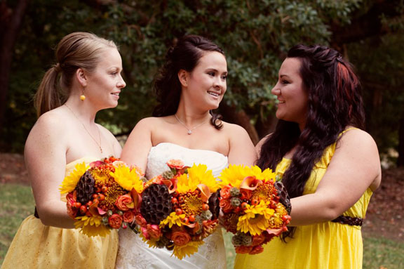 Rustic orange and yellow fall bouquets with lotus pods and sunflowers | Jessica Ormond Events | Hudson Photography