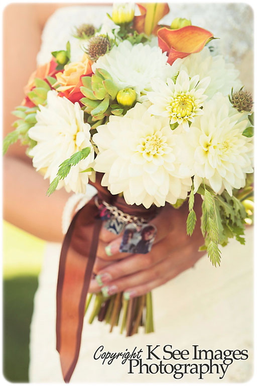 Fall bridal bouquet featuring white dahlias and multi-toned roses and calla lilies.   Jessica Ormond Events   K See Images Photography