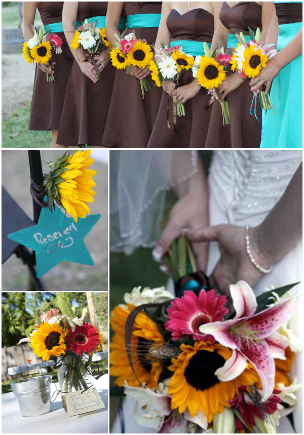 Country wedding with a bouquet of sunflowers, Gerbera daisies, Stargazer lilies, and wheat   Jessica Ormond Events