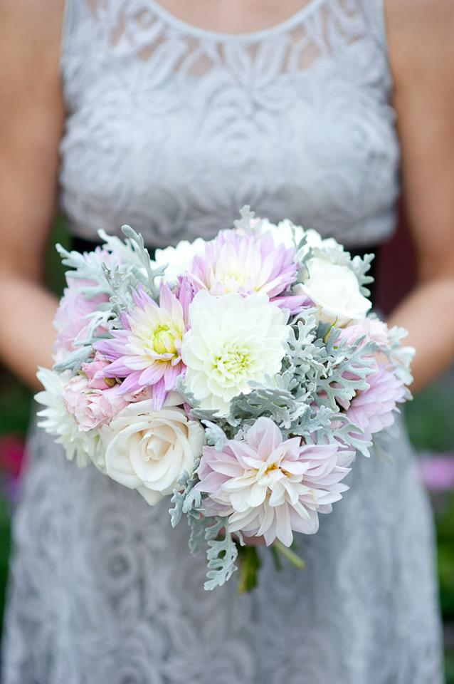 rustic pink and gray dahlia bouquet - Jessica Ormond Events - Alexandra Grace Photography