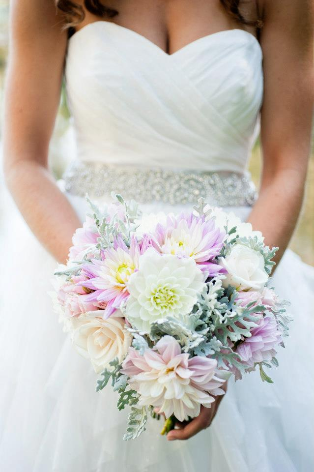 rustic pink and gray dahlia bridal bouquet - Jessica Ormond Events - Alexandra Grace Photography
