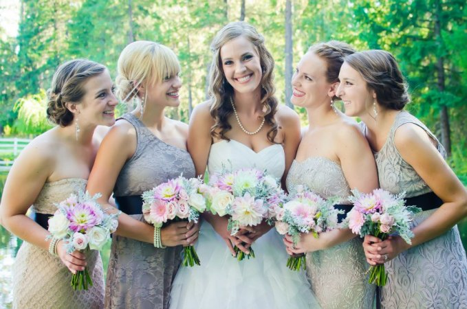 rustic pink and gray ranch wedding - bride and maids bouquet - Jessica Ormond Events - Alexandra Grace Photography