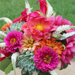 Vibrant bouquet of dahlias, zinnias, and succulents designed by Jessica Ormond Events.