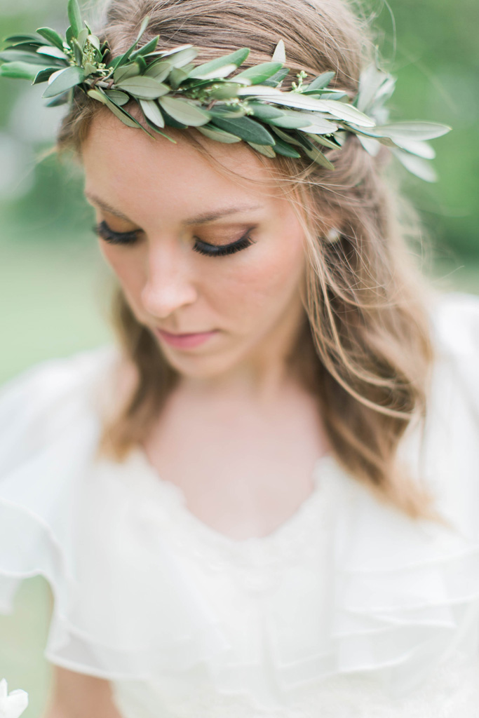 Vintage bride in olive leaf crown. Flowers and styling Jessica Ormond Events. Photography Emily Koontz.
