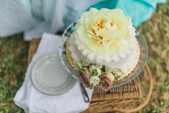 Wedding cake with yellow peony. Flowers and styling Jessica Ormond Events. Photography Emily Koontz.