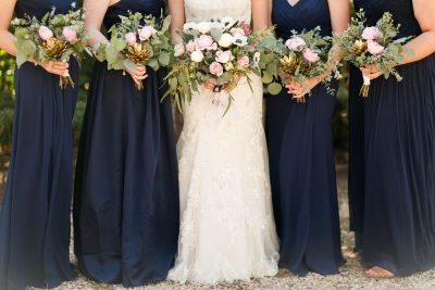 Rustic chic bouquets for blush and navy wedding in west Texas. Texas florist, Jessica Ormond Events. Photo by Allee J Photography.