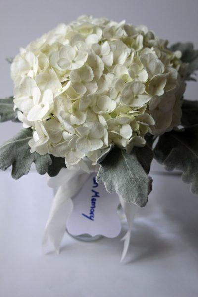 Hydrangea memorial posy for wedding at Texas Tech Club
