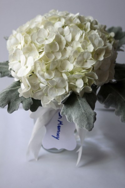 Hydrangea memorial posy for wedding at Texas Tech Club