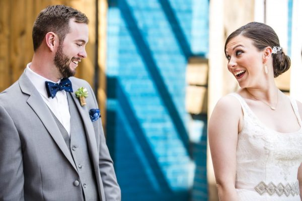 Bride and Groom first look at McPherson's, Lubbock Tx. Caitlin & Ryan Photography.