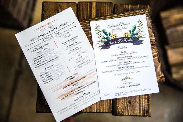 Wedding program and jenga at fun West Texas wedding. Caitlin & Ryan Photography.