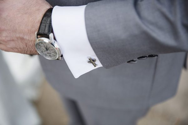 Cactus cufflinks for a West Texas Wedding. Jessica Ormond Events. Caitlin & Ryan Photography.