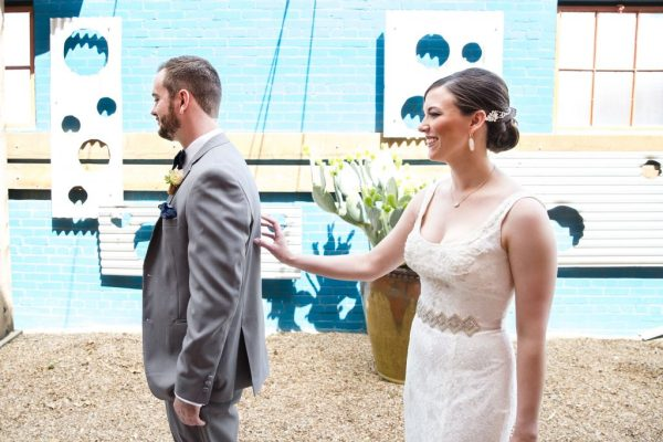 Wedding first look at McPherson's winery. Caitlin & Ryan Photography.