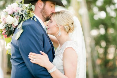 Texas bride and groom after the ceremony. Lubbock planner Jessica Ormond Events. Photo by Allee J Photography.
