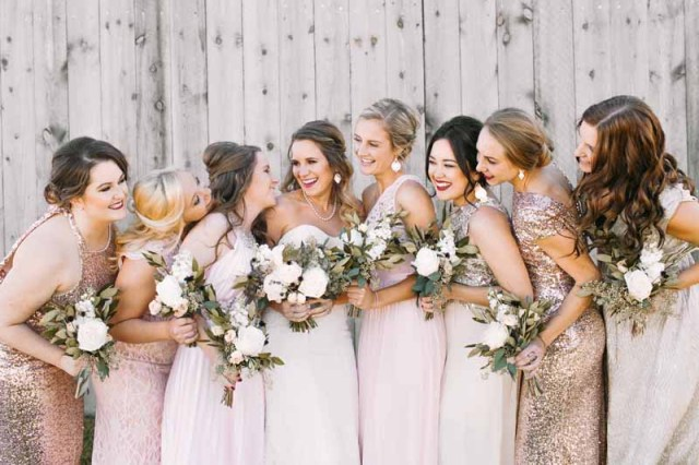 Bride and bridesmaid West Texas event center Eberley Brooks. Bouquets designed by Lubbock wedding florist Jessica Ormond Events. Ashley J Photography.