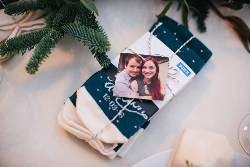 Custom sock favors at December Lubbock wedding. Jessica Ormond Events Texas wedding planner. Photo by Betsy.