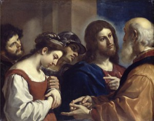 Imagem: Christ with the Woman Taken in Adultery, by Guercino, 1621 / Wikimedia Commons