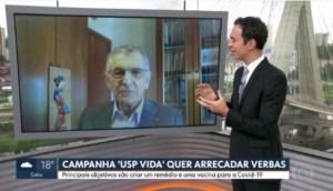 Na TV, reitor fala sobre o programa de doações para pesquisas sobre a covid-19