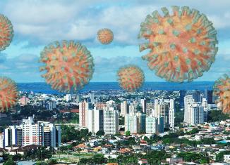 Fotomontagem da cidade de Manaus com o novo coronavírus - Fotomontagem: Jornal USP