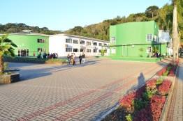 Bloco Pedagógico, bilbioteca e bloco salas de aula