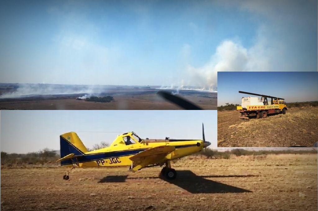 Agricultor utiliza avião agrícola para combater incêndio na região sul do país