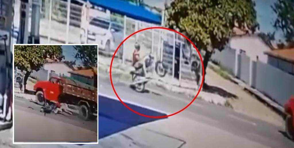 Motociclista morre após empinar moto e atingir caminhão-caçamba