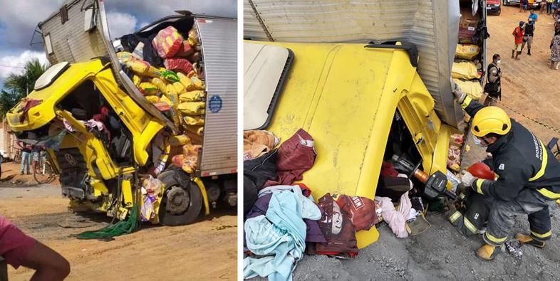 Caminhoneiro e passageiros ficam presos às ferragens após caminhão perder os freios na BR-135 4