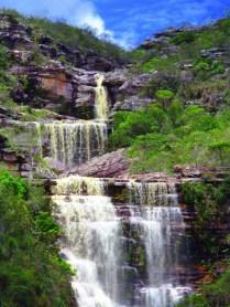 Cachoeira das Três Barras - vista das três quedas   FOTO: Facebook/Andaraí Oficial  