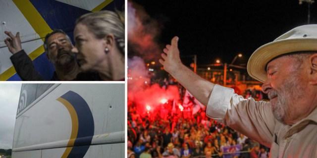 Resultado de imagem para Laudo confirma que ônibus da caravana de Lula foi atingido por dois tiros