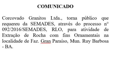 Photo of Corcovado Granitos Ltda requere renovação de Licença de Operação para Pedreira em Ruy Barbosa