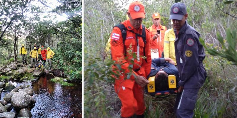 Chapada: Corpo de Bombeiros resgata homem que se machucou quando fazia trilha na região de Lençóis