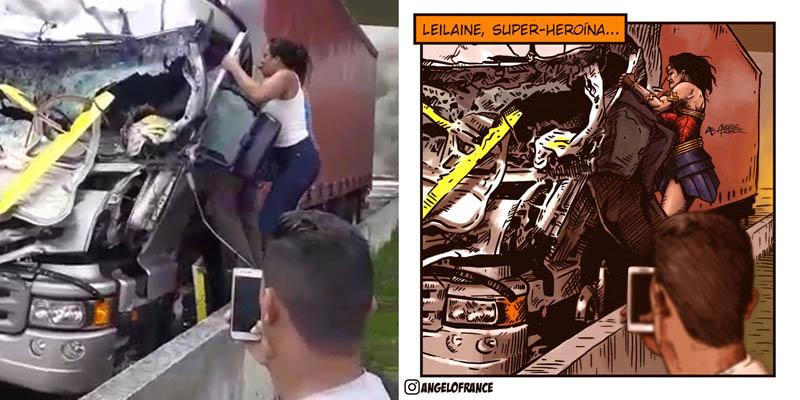 #Brasil: Mulher que salvou motorista de caminhão em acidente que matou Boechat e piloto vira heroína em ilustração