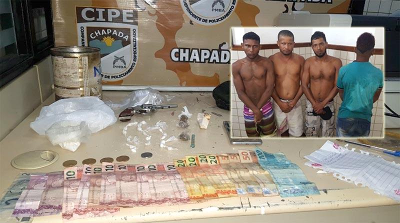 Chapada: Drogas, dinheiro e arma são apreendidos pela Cipe durante prisão de quadrilha em Itaetê