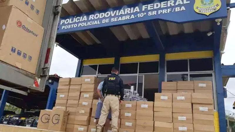 Chapada: PRF apreende carga de cigarro avaliada em quase R$800 mil na região de Seabra; veja vídeo