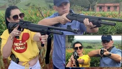 """Photo of #Polêmica: Deputada do PSL posta """"ensaio fotográfico"""" com armas ao lado do marido e polícia investiga caso"""