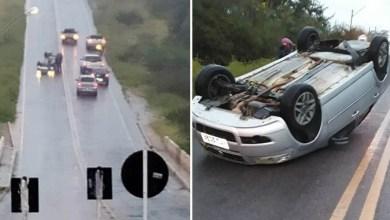 Photo of #Chapada: Carro capota próximo à ponte na região de Ruy Barbosa; motorista sai sem ferimentos graves