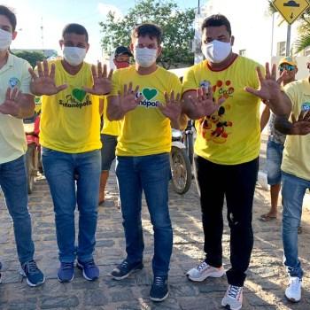 Agenda de Marcelinho Veiga com candidatos majoritários em Santanópolis - FOTO Divulgação