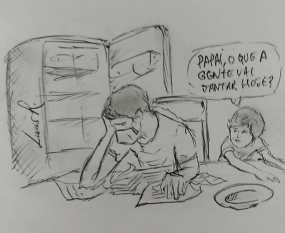 Desenho de um dos funcionários do hospital em Seabra