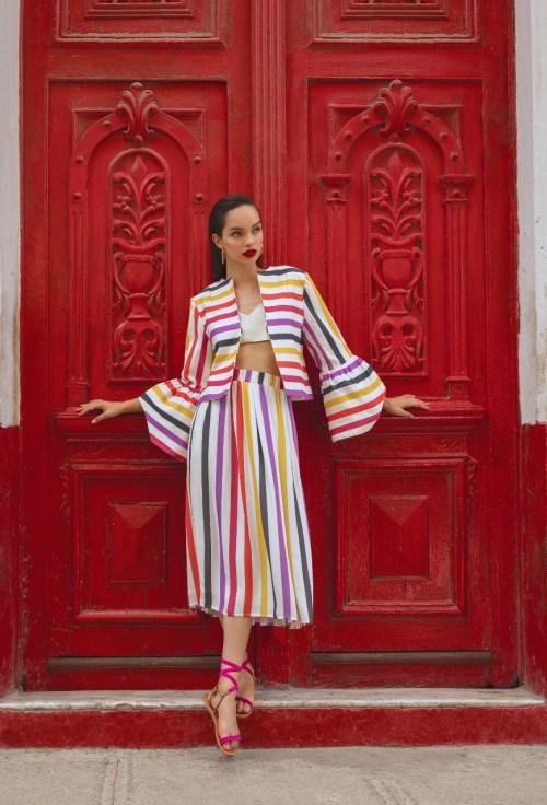 conjunto listras coloridas manga oversized saia midi mixed havana verão 2018