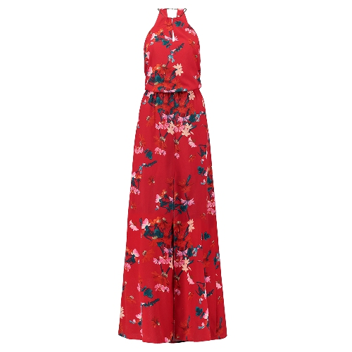 Macacão Vermelho estampado floral oriental liquidação sale promoção