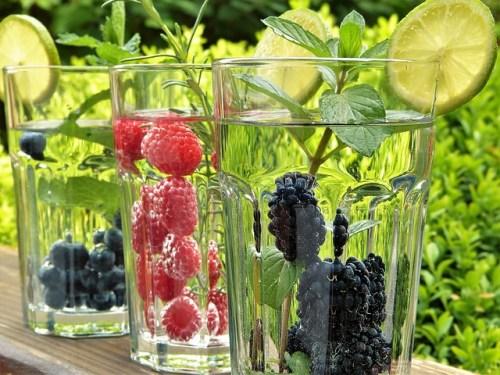 água aromatizada com frutas e ervas - para melhorar a hidratação
