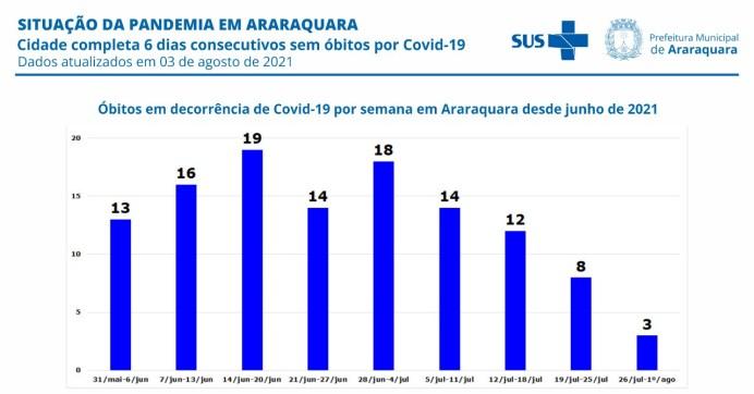foto03 Óbitos causados pela Covid-19 por semana em Araraquara desde junho