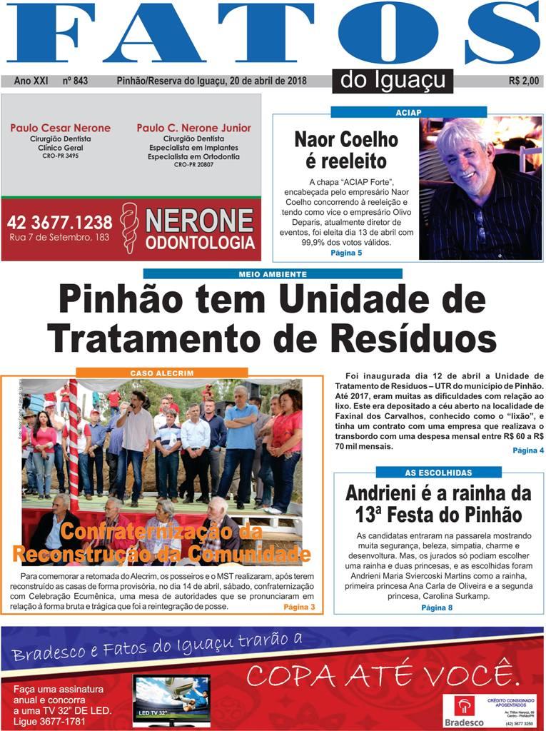 Capa e Editorial da Edição nº: 843