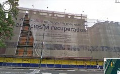 Em 2009 os prédios já estavam tapados pela tela de autopromoção que restava do mandato de Santana Lopes (Imagem: Google)