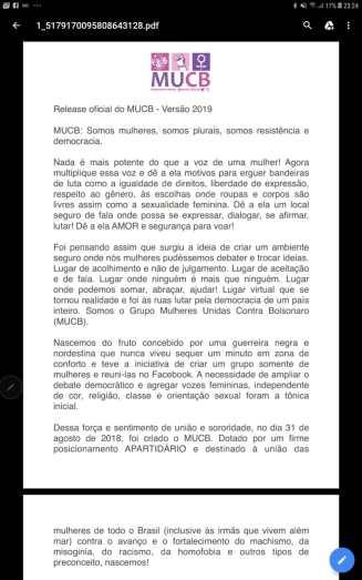 Perfil atualizado do movimento, conhecido como #EleNão