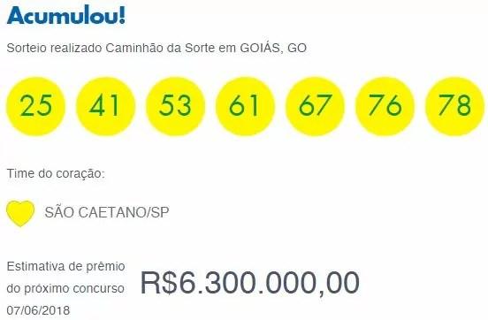 Resultado da Timemania 1188 / Fonte : Loterias Caixa