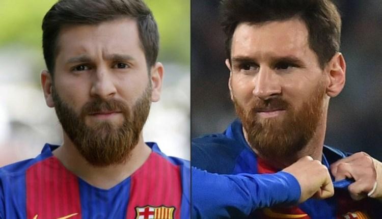 Reza Parastesh e o famoso craque do Barcelona: semelhança incrível./Foto: Reprodução