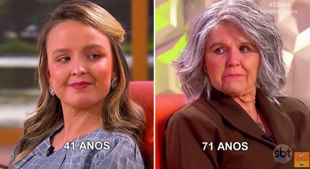(Reprodução/SBT) No'Programa da Eliana' Larissa Manoela e sua mãe Silvana envelhece no quadro proposto pelo programa, confira as fotos da transformação de Larissa Manoela