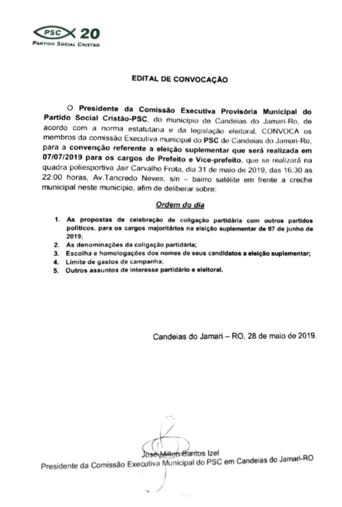 EDITAL DE CONVOCAÇÃO DO PARTIDO SOCIAL CRISTÃO – PSC