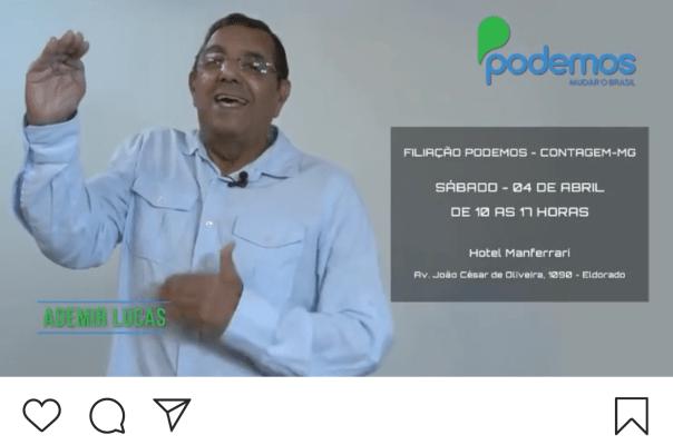 Ademir Lucas reaparece na cena política da cidade, após vários anos afastado, para tentar arregimentar pré-candidatos a vereador para o Podemos na última hora (print de vídeo publicado no Instagram do ex-prefeito em 03/04/2020)